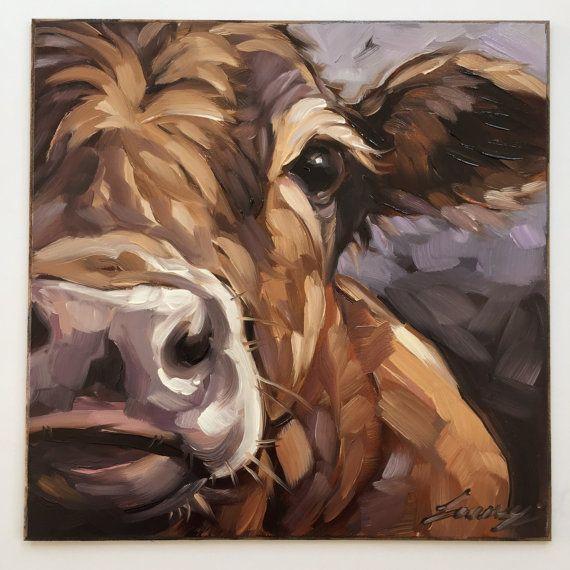 Cow Painting, 6x6 inch original impressionistic oil painting of a Cow, paintings of cows, Jersey cows, cow art