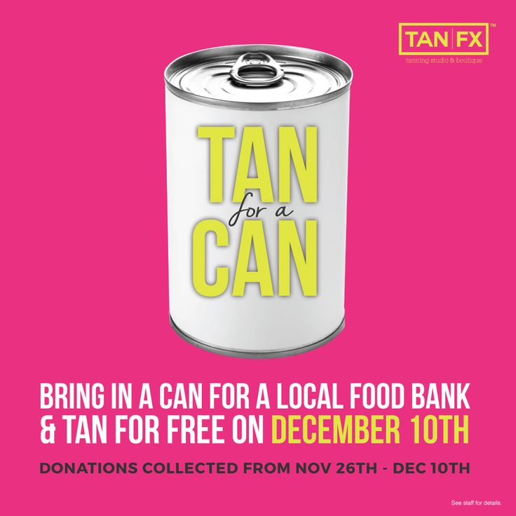 It's the last day to get a Tan for A Can!  Today, bring in a can of non-perishable food to any TanFX location and get a FREE tanning session! (scheduled via http://www.tailwindapp.com?utm_source=pinterest&utm_medium=twpin)
