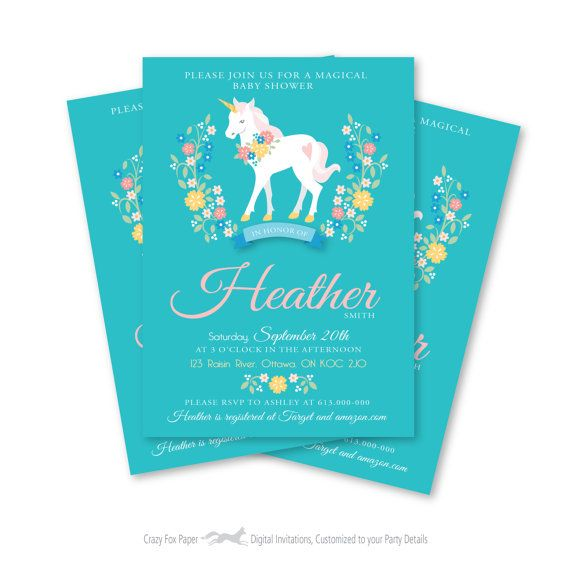 Unicorn Baby Shower Invitation Printable by crazyfoxpaper on Etsy