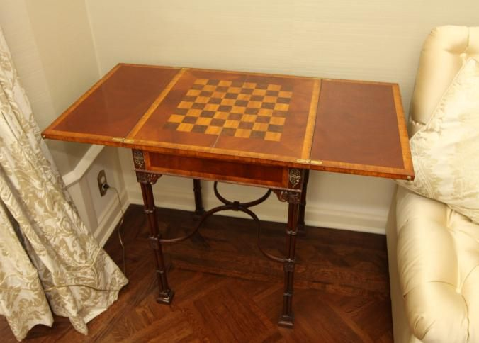 veneered top card table with folding top and inlaid veneer single drawer with brass