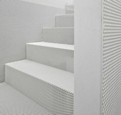 """From an article about using """"Perforated Metal"""" in home design.    Lochbleche überzeugen mit vielen Verwendungsmöglichkeiten"""
