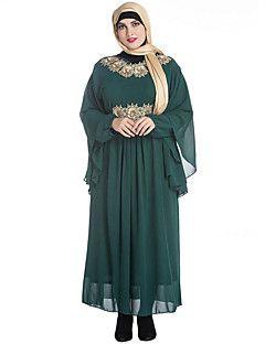 Chiffon Vestito Da donna-Taglie forti Vintage Ricamato Rotonda Maxi Manica lunga Nero Verde Cotone Primavera A vita medio-altaMedia – EUR € 47.03