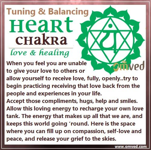 Fourth (Heart) Chakra TUNING - Color: Green, Location: Middle of chest by heart Body Parts Governed: Breasts, lungs, heart, thymus gland, arms and hands This is the energy that makes up all that we are, and keeps this world going 'round. sometimes even though we are able to give our love to others in endless ways; but do we allow ourselves to receive love? Its time to balance our heart chakra