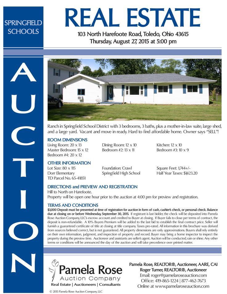 """Real Estate Auction at 103 N Harefoote, Toledo, OH 43615 on Thurs. Aug. 27 at 5 pm. Ranch in Springfield School District with 3 bedrooms, 3 baths, plus a mother-in-law suite, large shed, and a large yard.  Vacant and move in ready. Hard to find affordable home. Owner says """"SELL""""! View brochure online. Pamela Rose Auction Company, LLC."""