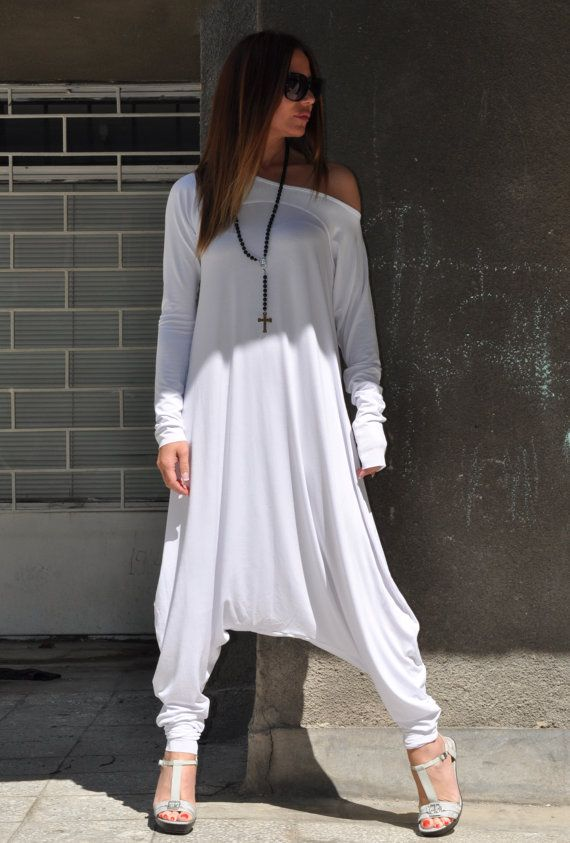 New Colection-Extra Long Sleeves White Jumpsuit by EUGfashion