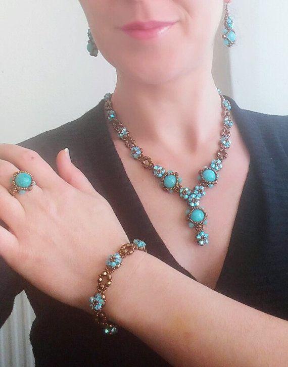 Aquamarine Jewelry Set Necklace  Bracelet  by SERMINCEJEWELRY