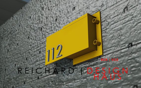 Steel Mailbox with Address Numbers | Modern Industrial | European Design   Custom | 80 % Post Consumer Content | Green Design