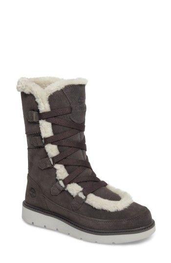 TIMBERLAND WOMEN'S TIMBERLAND KENNISTON FAUX FUR WATER RESISTANT MUKLUK BOOT. #timberland #shoes #