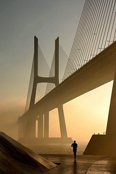Vasco da Gama Bridge - Lisbon, Portugal, early morning by F. Monteiro