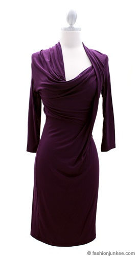 Jersey Draped Assymetrical 3/4 Sleeve Knee Length Dress-Purple