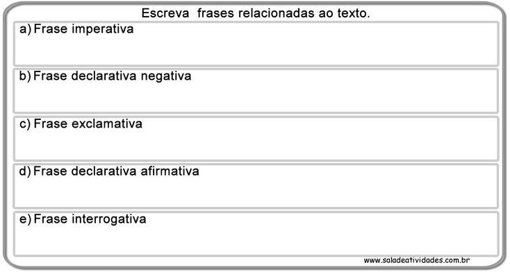 Atividades de pontuação e tipo de frases para imprimirSala de Atividades