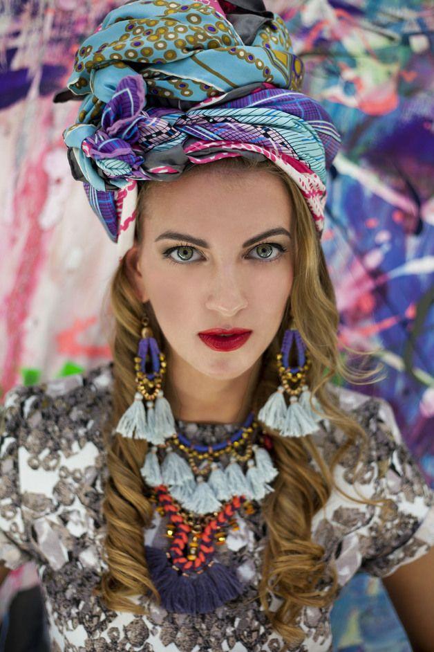 Stoffohrringe - Blau Lila Ohrringe mit grauen Quasten - ein Designerstück von gudbling bei DaWanda