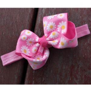 Newborns Pink Floral Bow Elastic Headbands