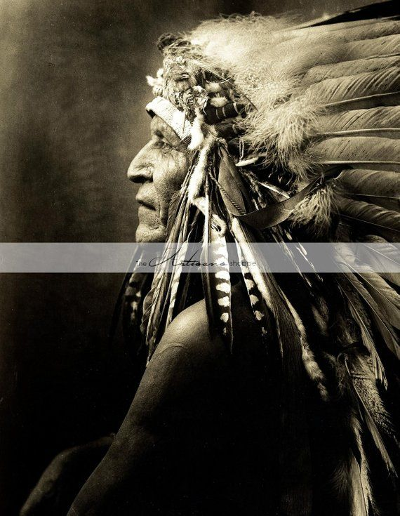 Vintage Native American Indian Chief Headdress Profile Photograph - Digital  Download Printable Insta 734db59de8976