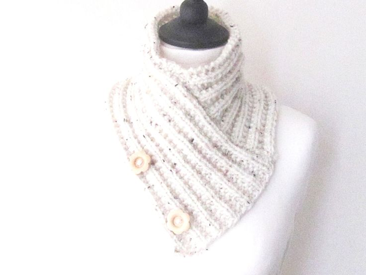 Cream knitted cowl, creme button scarf, knitted neckwarmer, bandana scarf, Mother's day gift, uk scarves, boho scarves, ladies scarf, by yarnawayknits on Etsy