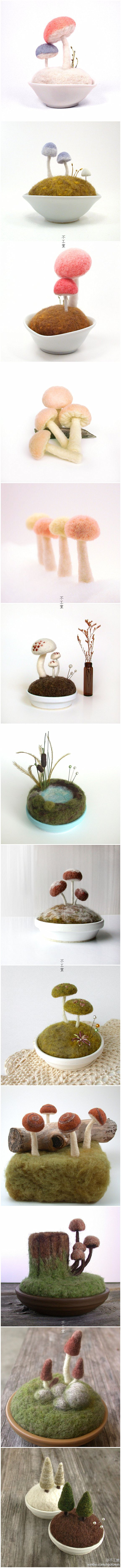 Many of my friends are like mushrooms made with wool felt, Florida Janine established Etsy station Foxtail Creek Studio is specialized in selling her own produce mushrooms bonsai, looks very cute, is not it!