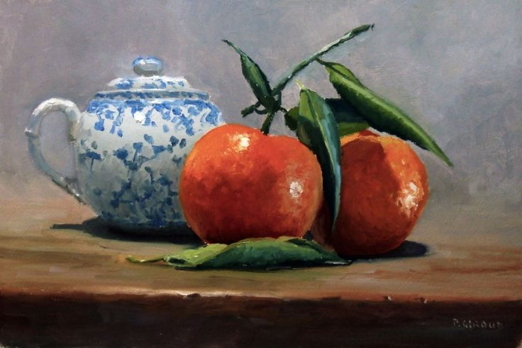 Two Clementines and a Small Teapot, Oil painting by Pascal Giroud | Artfinder