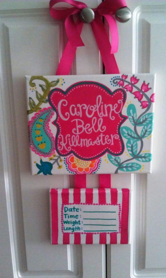 New baby door hanger by PaintsbyJanie on Etsy