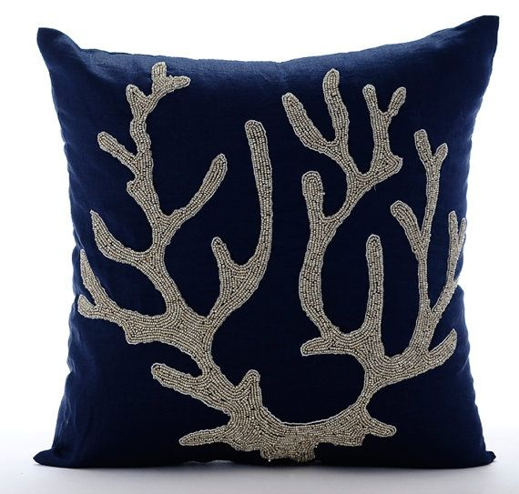 Sea Weed At The Shore - 16x16 Bead Embroidered Navy Blue Linen Beach Throw Pillow Cover