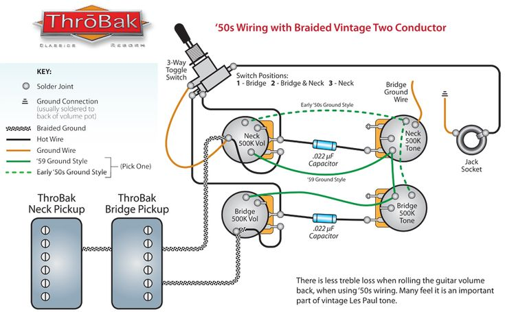 ThroBak 50 s Style Les Paul Humbucker Guitar    Pickup    Wiring