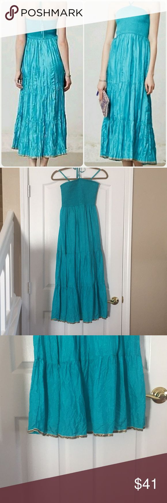 Anthropologie Maeve Teal Maxi Dress In perfect condition, hardly ever worn. From Anthro, brand is Maeve. length is 41 inches. Note: the cover shot was not taken by me. They are stock photos, and not my intellectual property. Anthropologie Dresses Maxi