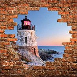 Sticker mural trompe l'oeil mur de pierre phare réf 854