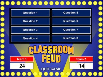 Classroom Feud PowerPoint Template - Plays Like Family Feud. She also has jeopardy, wheel of fortune and baseball! Great test review!!!