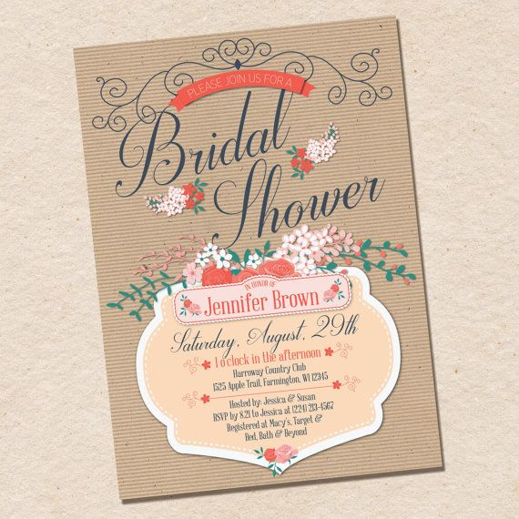 Floral Bridal Shower Invitation peach coral by InvitingLeeLee