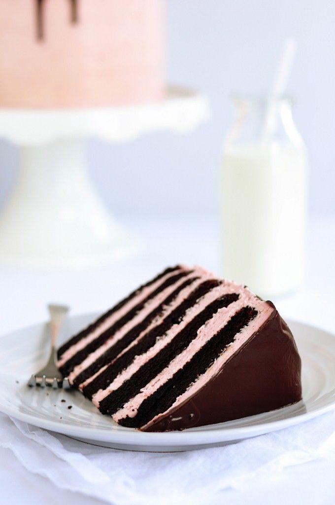 Six-Layer Dark Chocolate & Strawberry Buttercream Cake: Chocolate Cake, Chocolates, Strawberry Buttercream, Chocolate Strawberries, Dark Chocolate, Buttercream Cake, Six Layer Dark, Birthday Cake