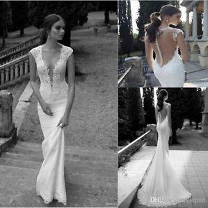 Sexy Tiefem V-Ausschnitt Rückenfrei Spitze Mermaid Brautkleider Hochzeitskleid