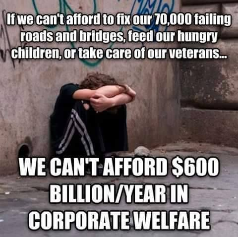 Corporate Welfare Moochers sponging off Taxpayers!!! Outrage??