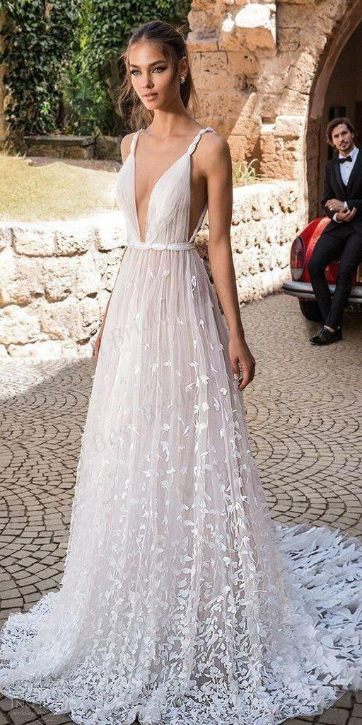 ffd9cc515e4c Deep-V Neck 3D Floral Lace Romantic A line Boho Wedding Dress