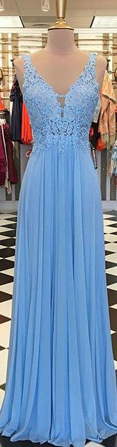 Sexy V-Neck Blue Prom Dresses with Lace Beadings Long Chiffon Party Gowns 2018