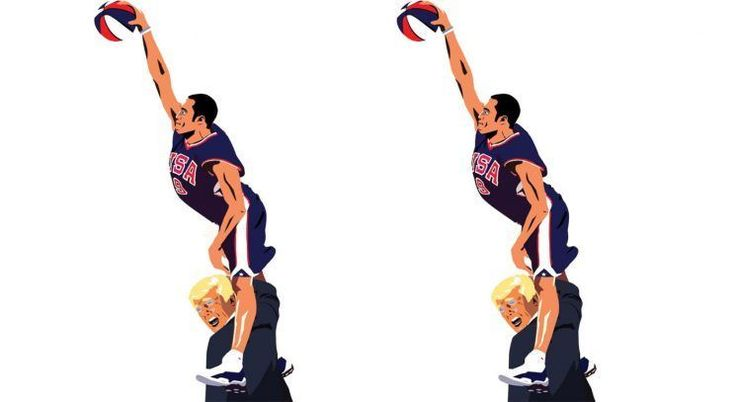Vince Carter's iconic dunk over Frederic Weis in the 2000 Olympics is being recreated into a posterization of Donald Trump.