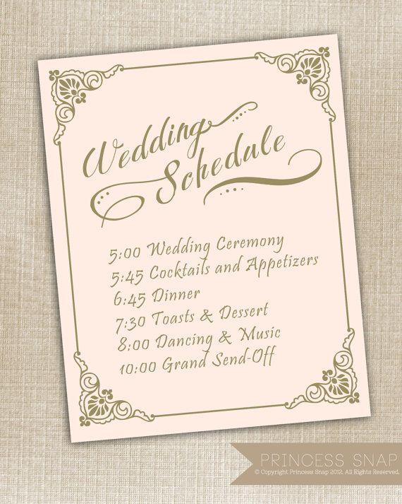 wedding schedule of events