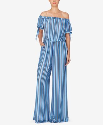 Catherine Catherine Malandrino Striped Off-The-Shoulder Jumpsuit | macys.com