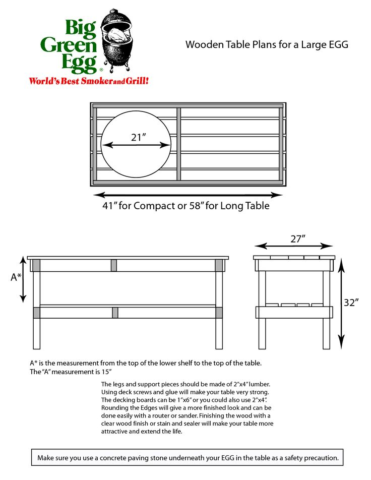 PDF Large Big Green Egg Table Dimensions Plans Free