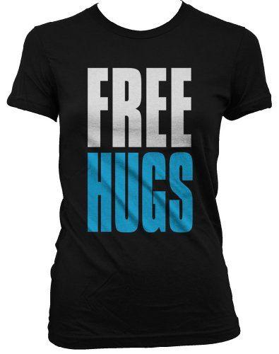 FREE HUGS Juniors T-shirt Big and Bold Funny Statements Juniors Shirt Medium Black