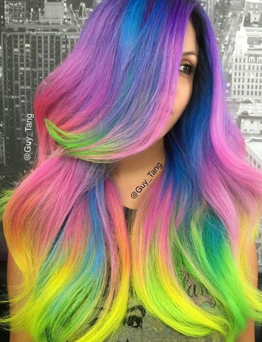 Guy Tang electric bright rainbow dyed hair