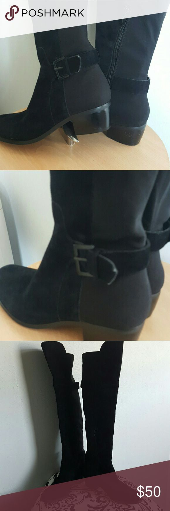 Marc Fisher knee  high boots Knee high black boots. Apper suede ,asymmetrical opening, stretch back. Very little use. Great condition! Marc Fisher Shoes Over the Knee Boots