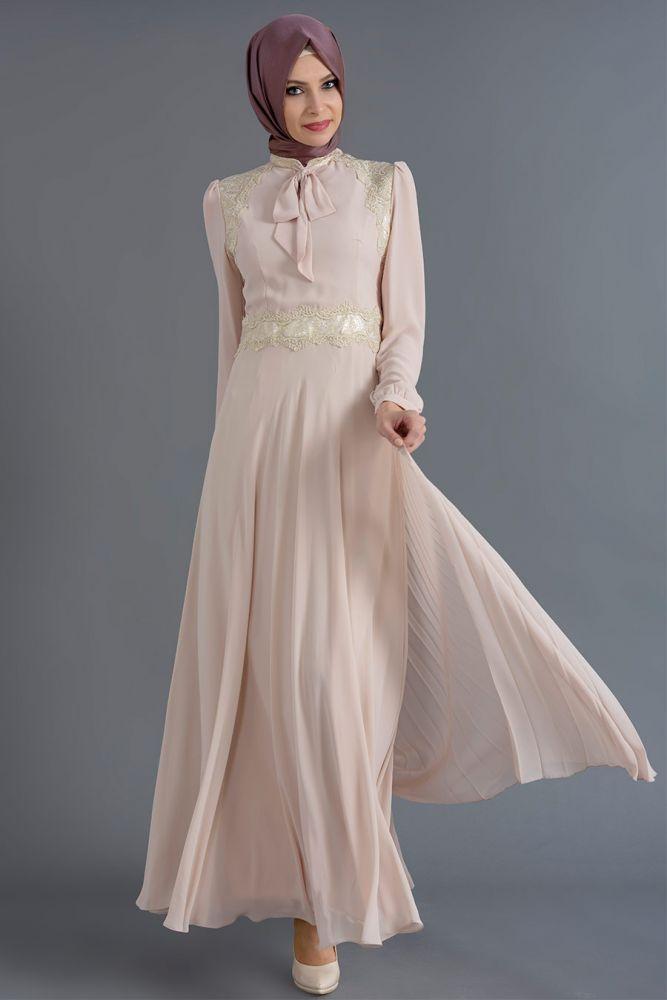 Puane - Dantel Detaylı Bej Elbise