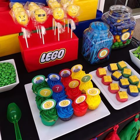 Lego candy/dessert table by Bizzie Bee creations by Iris #legoparty #legocakepops #legopartyideas #cakepops #cupcake #candybuffet #candystation #birthdays #bridalshowers #babyshower #events #decorations #dippedoreos #desserttable #weddings #sweets #sweet16 #sweet15 #Quinceañera #bizziebeecreations #parties #yum #kidparty #