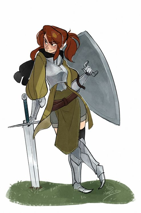 When you're looking at inspirational art to get yourself motivated but instead get the unsuppressable urge to draw their character again  so long story short, Nargyle's Enna again based off the armor design from this awesome comic by another fan of her work