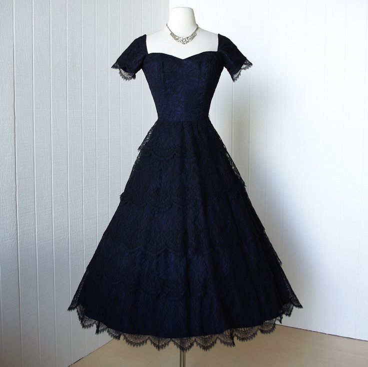 vintage 1950's dress ...exquisite NORMAN ORIGINAL rich navy blue scalloped lace bullet bust full skirt cocktail dress