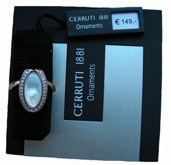Pierścionek posrebrzany próba 925 obsadzany cyrkoniami oczko z masy perłowej  Kolor - złoty Powierzchnia polerowana