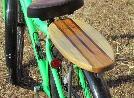 Surfboard Rear Bike Rack Solid Cherry and Poplar by MarkerSix #surfboardbikerack #beachcruiser