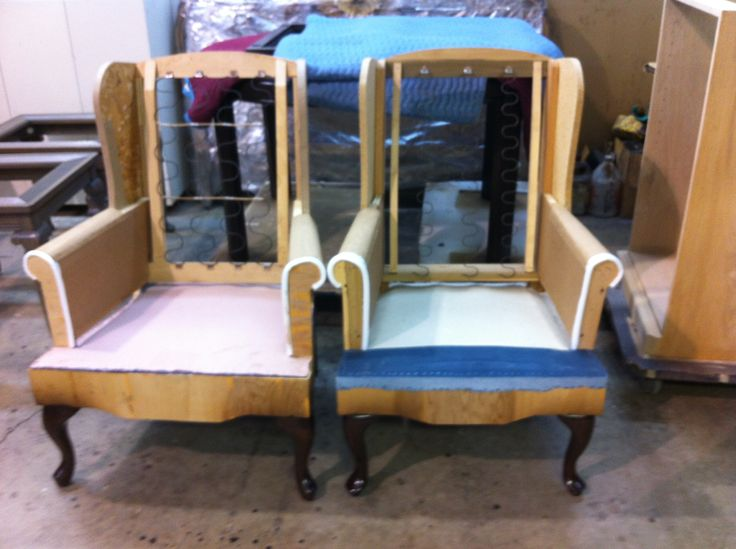 2 #wing #chairs after #reconstruction & #refinishing by AM Furniture Finishing