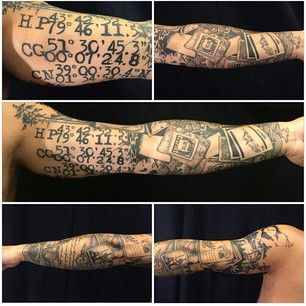 If you love to travel, consider documenting where you've been or where like this guy did. | 27 Themed Tattoo Sleeves That Are Basically Works Of Art