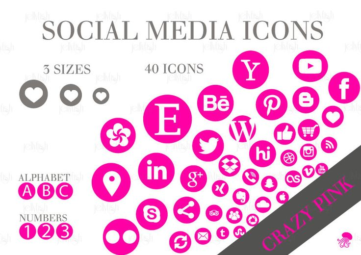 Social Media Icons Set Crazy Pink Download by jellyfishfish on Etsy