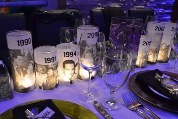 Check out this tutorial from Our Best Bites for a similar idea for photo luminaries which you could also use as 50th birthday party decorations. You just print photos of the birthday boy / girl onto sheets of velum using your home printer and then apply to glass jars with double sided tape. There's a great example, below right, from Perfect Party Orlando who used these to create table decorations for a 50th birthday party.